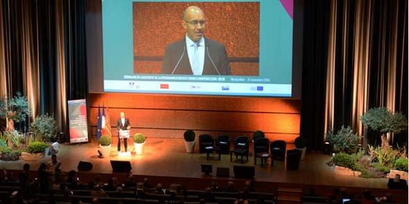 Harlem Désir, lors du séminaire de programmation 2014-2020 des fonds structurels européens, le 14 novembre à Montpellier