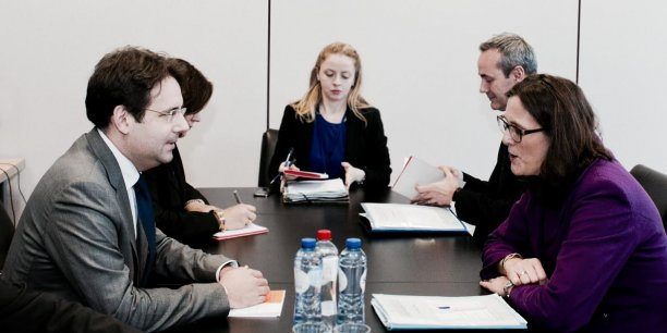 Après le Conseil, Matthias Fekl et Cecilia Malmström, la nouvelle commissaire européenne chargée du Commerce se sont retrouvés en tête à tête ce vendredi