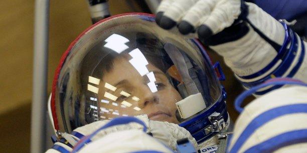 Samantha Cristoforetti, durant les préparatifs de pré-lancement, le 23 novembre.