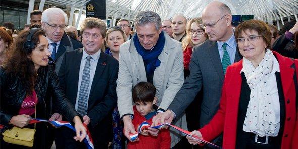 De gauche à droite : André Vezinhet, président du conseil général de l'Hérault, le président de Région Damien Alary, le maire de Montpellier Philippe Saurel et le préfet de Région Pierre de Bousquet