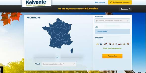 Capture d'écran du site Kelvente.fr