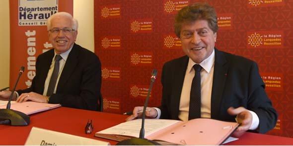 André Vezinhet (CG34) et Damien Alary (Région) ont signé un protocole d'accord pour 2014, appelé à être renouvelé en 2015