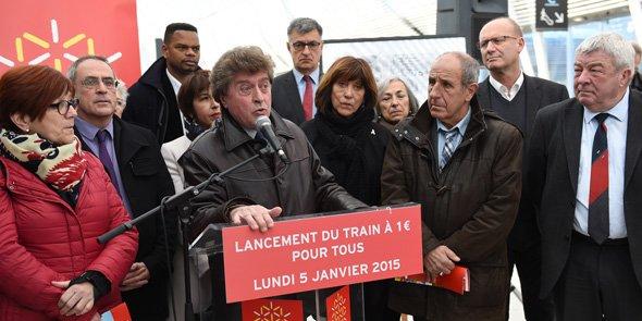 Damien Alary, le président de la Région Languedoc-Roussillon, a lancé la généralisation du train à 1 € ce lundi 5 janvier 2015, à la gare de Montpellier Saint-Roch.