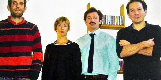L'ensemble de l'équipe de Co-rider.fr avec de gauche à droite : Jérome Verten, Anne Lavédrine, François Naud et Matthieu Verten