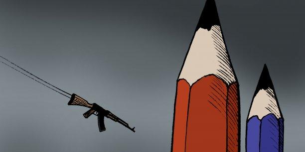 Michel Kichka a dessiné sur son blog sa version du thème des tours jumelles en forme de crayons géants (celle qui figure en Une du quotidien israélien Yediot Aharonot est l'oeuvre du dessinateur Ruben L. Oppenheimer - voir image en pied d'article).