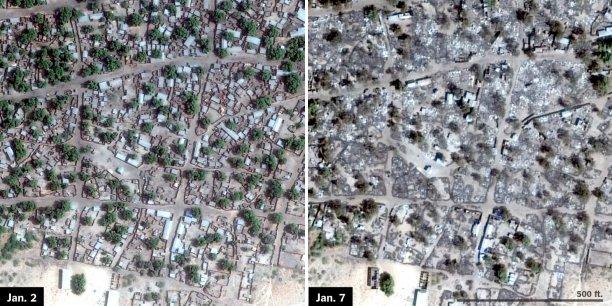Les deux photos de la ville de Doro Gowon ont été prises la veille de l'offensive de Boko Haram, puis cinq jours plus tard.