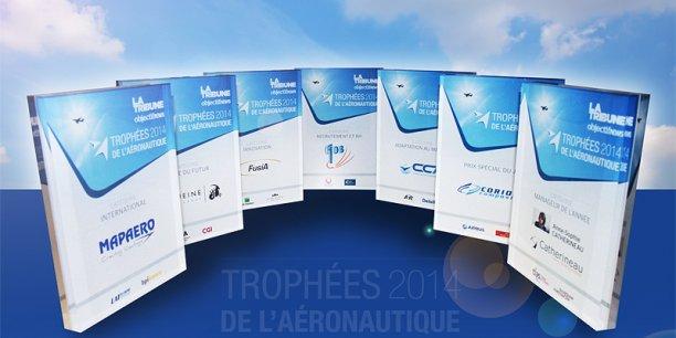 Les 7 lauréats des Trophées de l'aéronautique 2014. ©photo PP