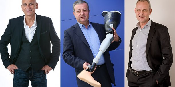 De gauche à droite, Patrick Bégué, président de Planet Cards, Alain Montean, PDG de Lagarrigue, et Bruno Derville, président des Senioriales. © Photos Rémi Benoit/DR