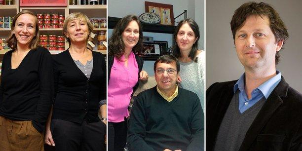 De gauche à droite : Laurence et Anne Dubarry (Ducs de Gascogne), Jean-Michel Delbos et ses filles Virginie et Alexandra (Groupe Delbos), et Nicolas Tournois (Sacor). @ photo Rémi Benoit