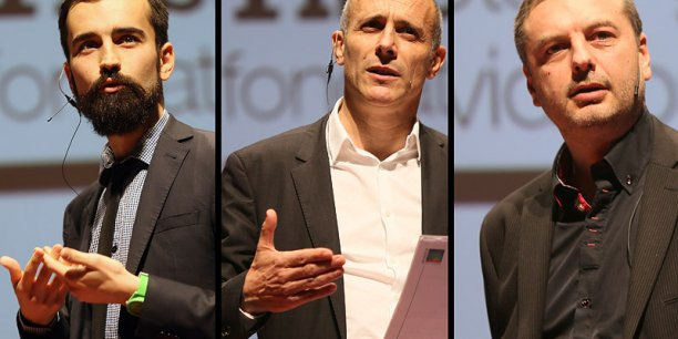 De gauche à droite, Tristan Laffontas (Moi Chef), Thierry Merquiol (Wiseed) et Cédric Mallet (Jeuxvideos.com). © photo Rémi Benoit
