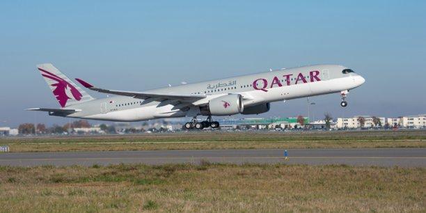 L'A350 de la compagnie Qatar Arways au décollage à Toulouse lundi 22 décembre. © photo Airbus