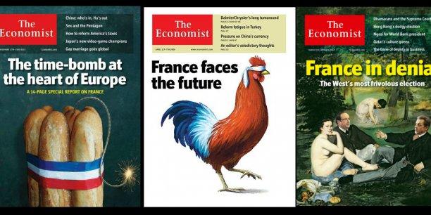 Le french bashing est un sujet de prédilection - un marronnier- pour certains titres de la presse anglo-saxonne, comme en témoignent ces Unes de The Economist : [France:], La bombe à retardement au coeur de l'Europe (17 nov. 2012) ; [Comment] La France [aveuglée] fait face à l'avenir (30 mars 2006); La France dans le déni: l'élection [présidentielle] la plus frivole de l'Occident (31 mars 2012).
