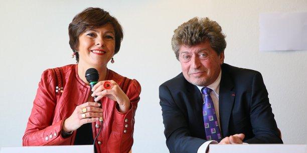 Carole Delga et Damien Alary, à Castelnaudary le 21 janvier pour lancer leur candidature commune à l'investiture PS en vue des élections régionales Languedoc-Roussillon-Midi-Pyrénées.