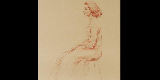 Le portrait de Lauren Bacall estimé entre 2.500 et 4.100 euros, réalisé à la craie rouge sur papier par Aaron Shikler, peintre américain connu pour avoir notamment croqué John F. Kennedy.