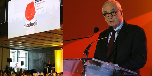 Martin Malvy, le président du Conseil régional et de l'agence Madeeli lors de l'inauguration de l'agence