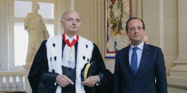 Didier Migaud, premier président de la Cour des comptes, aux côtés de François Hollande.