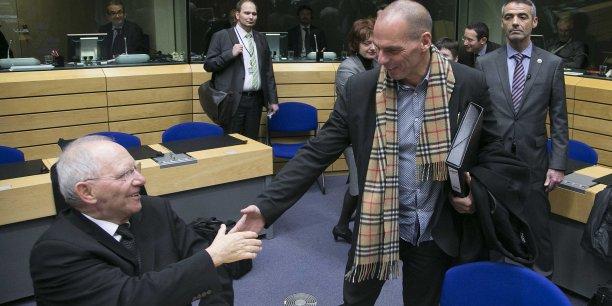 De gauche à droite, Yannis Varoufakis dans le cénacle de l'Eurogroupe.