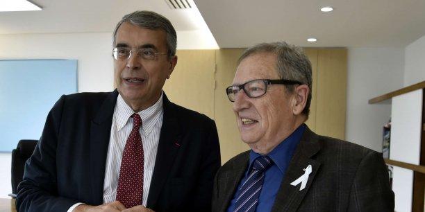 Jean-Jack Queyranne président de Rhône-Alpes aux cotés de René Souchon président de l'Auvergne
