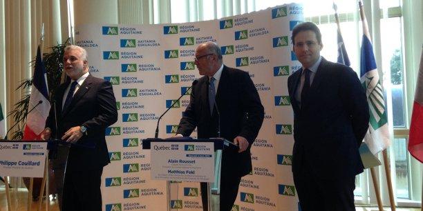 Philippe Couillard, Alain Rousset et Matthias Feckl
