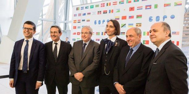 Luc Carvounas, Jean-Christophe Fromantin, Jean-Paul Huchon, Cedric Villani, Jean-Louis Missika et Bruno Le Roux à la fondation Louis Vuitton.