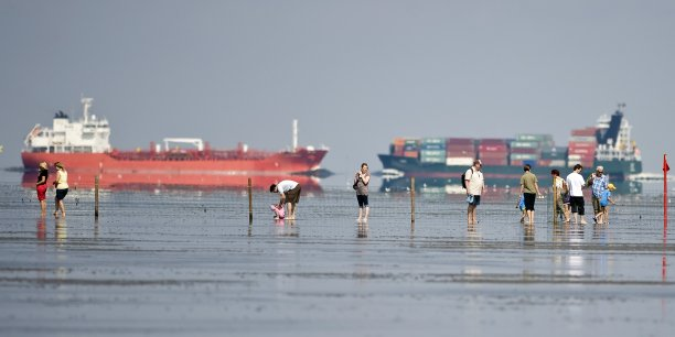 Sur les rives de la mer du Nord, la plage de Duhnen, près de Cuxhaven (Allemagne)