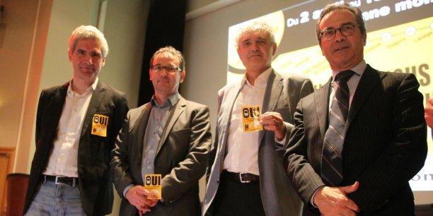 Hervé Schlosser, vice-président de Tic Valley, Jean-Marie Courcier de Chauvin Opsia, Christian Zani du cabinet Zani et Couderc et Gérard Baylé PDG de Tridem Pharma élus au conseil d'administration.