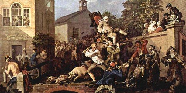 Satire des Mœurs Électorales par William Hogarth — Sous licence Domaine public via Wikimedia Commons.