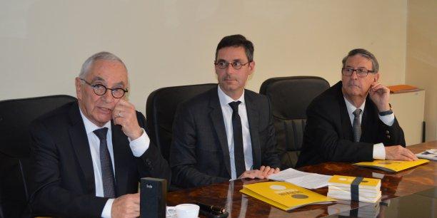 Martin Malvy, président de Midi-Pyrénées, Laurent de Calbiac, directeur régional de Bpifrance et René Chelle, président d'AB7