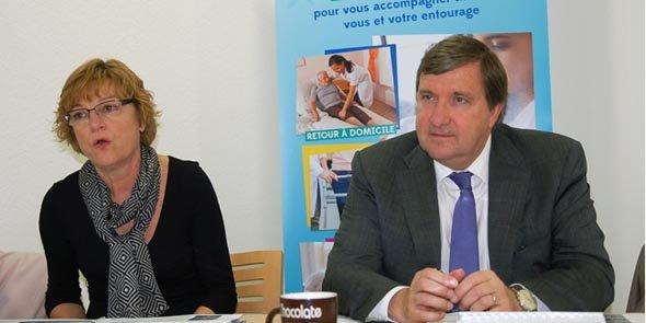 Christine Davesne, directrice de Pôle Emploi Polygone à Perpignan, et Marcel Hermann, président de Médipôle Partenaires
