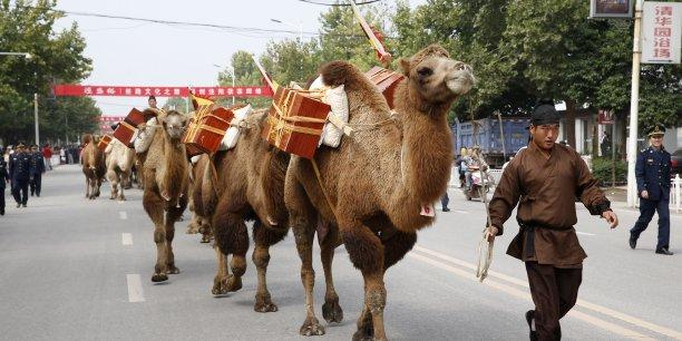 136 chameaux et quelques 100 Chinois parcourent depuis septembre dernier les 15.000 kilomètres qui séparent la ville de Chengdu, en Chine, du Kazakhstan pour la fête culturelle de la route de la soie.