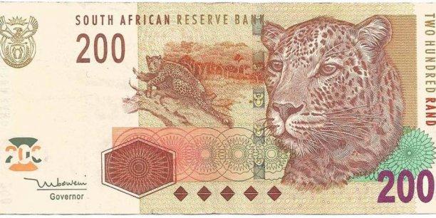 Billet de 200 rands sud-africains.