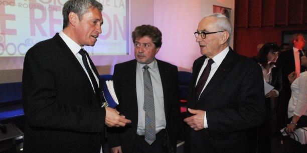 Philippe Saurel, Damien Alary et Martin Malvy le 4 mai à Montpellier