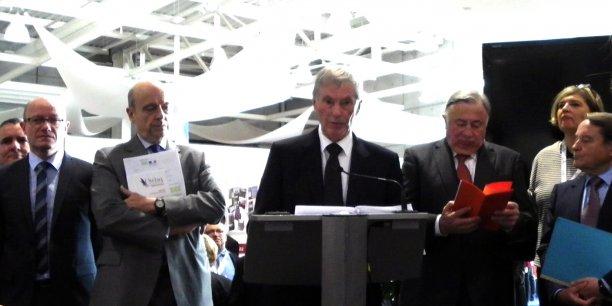 Jean-Luc Gleyze, Alain Juppé, Gérard César, Gérard Larcher, Catherine Veyssy et André Laignel