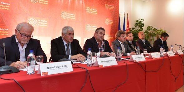 Damien Alary, entouré des présidents des chambres régionale et départementales