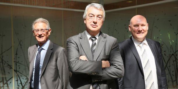 Alain Samier, président du conseil d'administration, Alain Condaminas, directeur général et Philippe Chanez, responsable innovation à la Banque populaire Occitane.