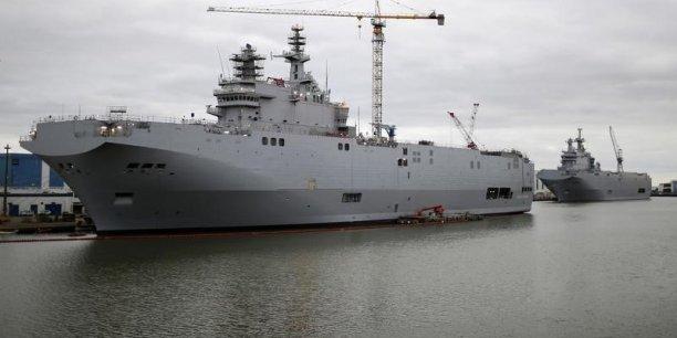 La livraison à la Russie de deux navires de guerre construits à Saint-Nazare est suspendue depuis novembre en raison de la crise ukrainienne.