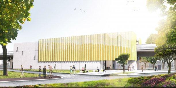 Vue d'architecte d'une future station du PLB à Labège