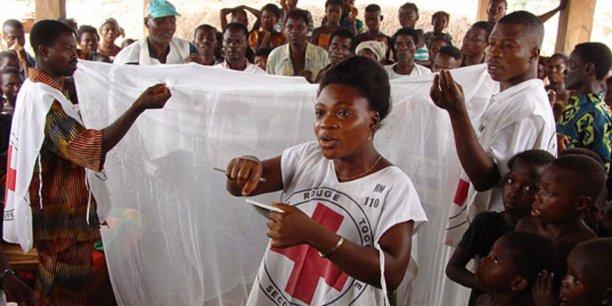 Au Togo, des bénévoles de la Croix Rouge montrent comment installer une moustiquaire, l'un des moyens considérés par Give Well comme les plus efficaces pour lutter contre la malaria.