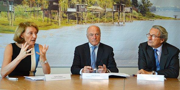 Agnès Paillard (Aerospace Valley), Alain Rousset (Conseil régional d'Aquitaine) et Jean-Luc Fouco (Aquitaine Développement innovation)