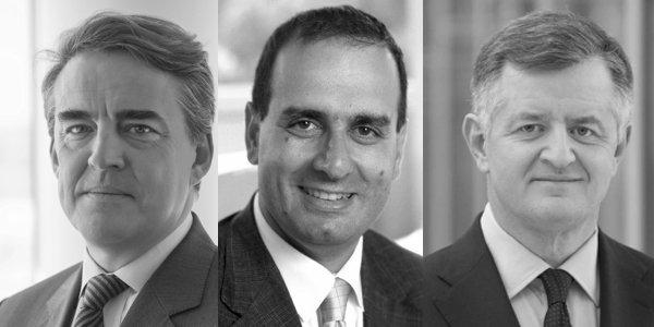 Le PDG d'Air France-KLM, Alexandre de Juniac, le président du GIFAS et directeur général délégué d'Airbus Group, Marwan Lahoud, et le PDG d'Aéroports de Paris (ADP), Augustin de Romanet