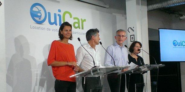 De gauche à droite : Marion Carrette (fondatrice de OuiCar), Marc Simoncini (président de Jaina), Guillaume Pepy (président directeur général de la SNCF) et Barbara Dalibard (directrice générale de SNCF voyageur).