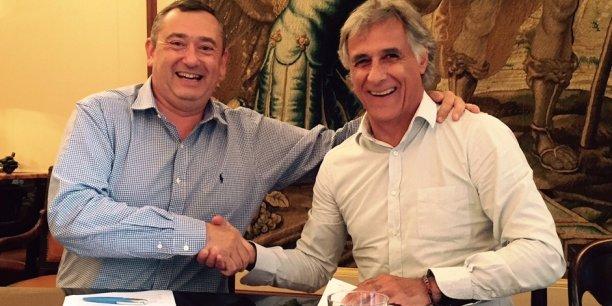 Frédéric Cauchois (Depack Design Group) et François Guarino (FG Design) au moment de la cession de Depack à FG Design
