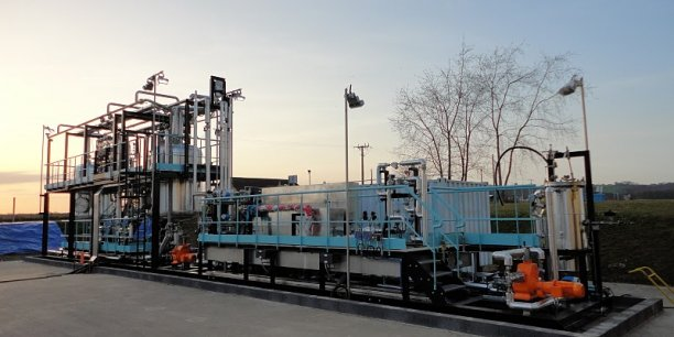 La première unité testée en grandeur réelle l'a été dans le bassin industriel de Lacq (Pyrénées-Atlantiques)