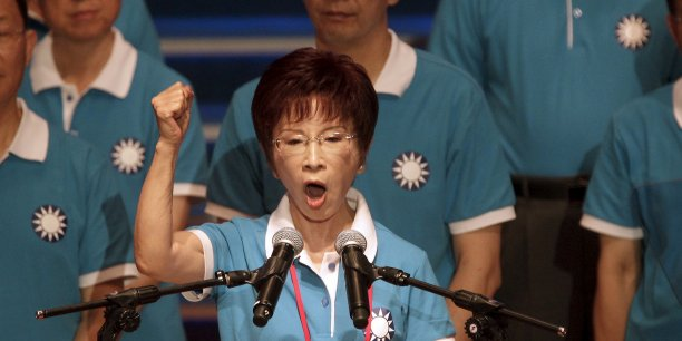 Pour la première fois, le Parti nationaliste Kuomintang a choisi une femme pour le représenter. Hung Hsiu-chu, 67 ans est l'actuelle vice-présidente de l'Assemblée législative. Sur la photo, la toute nouvelle présidente lors de son discours au Congrès du Parti le 19 juillet, à Taipei.