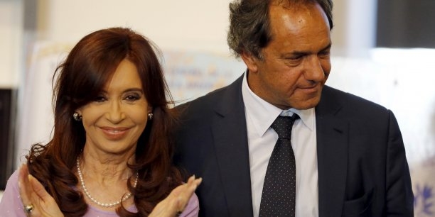 Cristina Kirchner, présidente de l'Argentine et David Scioli, candidat de son parti à la présidentielle.