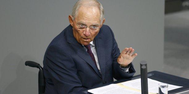 Le ministre conservateur a dû se faire violence, lui qui il y a tout juste un mois proposait une sortie temporaire de la Grèce de la zone euro.