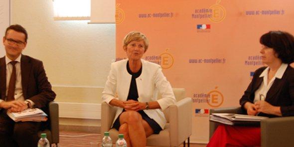 La Rectrice de l'Académie de Montpellier, Armande Le Pellec Muller (au centre) a donné sa conférence de rentrée 2015 le 31 août.