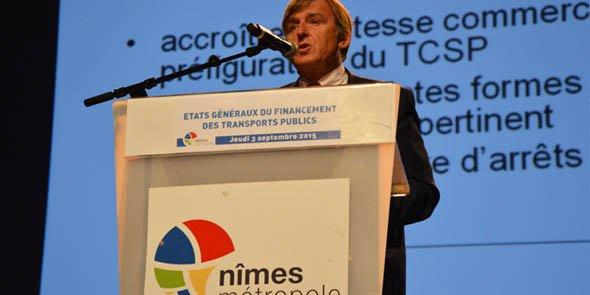 Yvan Lachaud (UDI), président de Nîmes Métropole, lors de la présentation du rapport de synthèse des États Généraux du transport, mercredi 3 septembre.