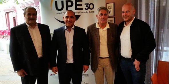 Le président de l'UPE 30 Eric Giraudier, entouré de Philippe Broche, président d'Invest in Gard (à gauche), Philippe Pattitucci, président de l'UIMM 30-48, et Eric Butel, président de l'association des entreprises du Marché Gare (à droite)