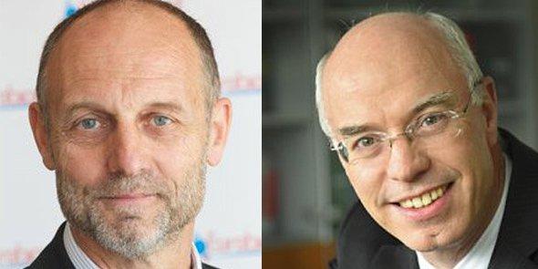 Xavier Tabary et Liberto Yubero, présidents des pôles de compétitivité régionaux Eurobiomed et de Cancer Bio Santé.